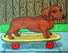 DACHSHUND dog skate boarding  13x19 signed art PRINT poster painting gift new  #modern
