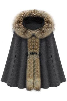 Shop Hooded Cape-style Dark-grey Coat at victoriaswing, personal womens clothing online store! high quality, cheap and big discount, latest fashional style!
