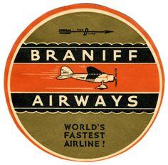 ca.1930: Braniff Airways Luggage Label. Artist: Unknown. #ephemera #travel #airplanes