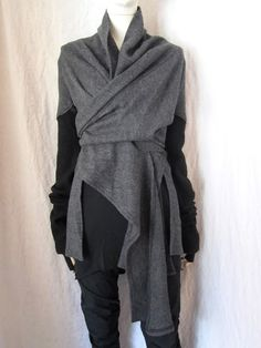 WORTHWHILE: LOST AND FOUND asymmetrical grey wrap sweater #minimalist #fashion #style