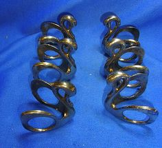 Lot of 6 Vintage German Silver - Plated Swan Napkin Rings #CB