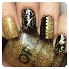 OPI Black Onyx and Orly Bling stamped using CICI&SISI 12 Maybelline Color Show Bold Gold. Gold stars are by ART CLUB.