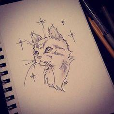 Tatto Ideas 2017  Beaucoup de mal à me poser à me concentrer et à empoigner mes crayons en ce moment. Juste un chato  mrspopsicle