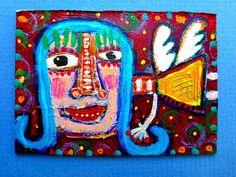 Tracey Ann Finley Original Outsider Raw Folk Art ACEO Painting Blue Hair Angel #OutsiderArt