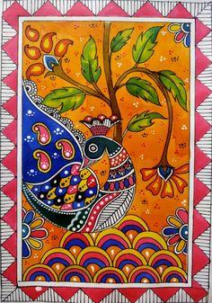 Madhubani Paintings Peacock, Kalamkari Painting, Madhubani Art, Indian Art Paintings, Easy Paintings, Abstract Paintings, Mandala Art, Kerala Mural Painting, Art Premier
