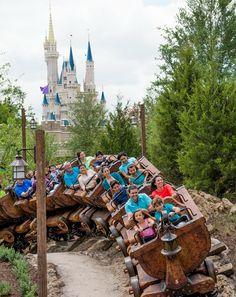 Climb aboard the Seven Dwarfs Mine Train for a rollicking ride in the Magic Kingdom.