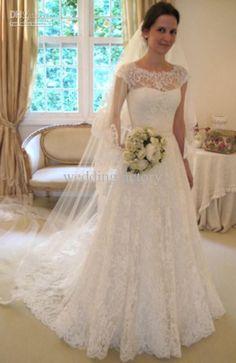 Bateau Lace Wedding Dress A Line Cap Sleeves Bridal Gown