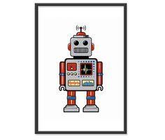 Art de robot d\'impression art de la pépinière décor rétro par handz ...