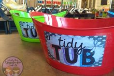 "Put a ""Tidy Tub"" on each table while students are doing cutting projects. It helps keep the students in their seats working instead of getting up to go to the trash."
