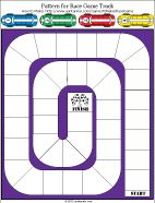 Printable pattern for One-sheet Racetrack Board Game and racecar playing pieces