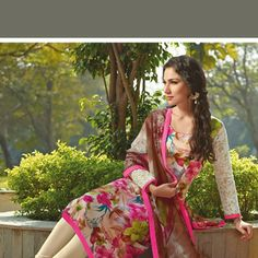 Off White, Pink and Green Cotton Lawn Churidar Kameez
