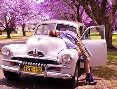 Marie Claire Australia March 2010 Purple Reign Photographer: Corrie Bond Model: Daria Komarkaia It was photographed at the Jacaranda Festiv. Purple Love, All Things Purple, Purple Lilac, Shades Of Purple, Purple Stuff, Purple Trees, Purple Cars, Purple Flowers, Mauve
