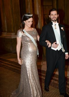 The King and the Queen of Sweden held an official gala dinner at the Royal Palace on Feb 3, 2016.