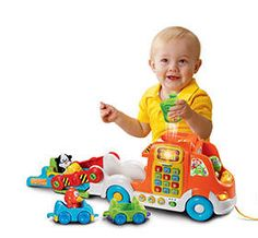 VTech Pull and Learn Car Carrier Pull Toy  Vrrroom! Get baby's brain going and growing with the Pull & Learn Car Carrier by VTech! Your toddler will be fired up to find three vehicles and three fun characters that fit nicely in the suped up car shaped carrier. The small cars actually recognize each character when they're snapped into the driver's seat. Plus, a proximity sensor recognizes vehicles as they drive by playing fun phrases for each passing vehicle. This electronic learning ..