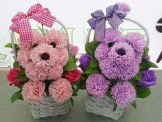 A pair of puppies Funeral Flower Arrangements, Funeral Flowers, Floral Arrangements, Deco Floral, Arte Floral, Floral Design, Puppy Flowers, Felt Flowers, Sun Flowers