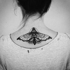 Grand papillon , partant plus du haut de la nuque