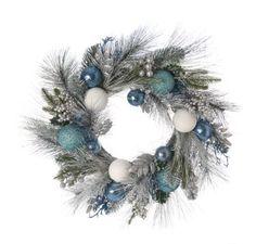 Festive Blue leaf and bauble wreath | Debenhams