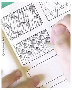 Pattern Doodle Ideas Timelapse for Bullet Journal #mandala #drawing #simple #doodle #inspiration Simple abstract pattern ideas for bullet journal | More pattern doodle inspiration and tutorials on my IG (mariomartinart) | #doodleart #zendoodle #abstractdoodles #satisfyingvideos #artprocess #speeddrawing Doodle Art Drawing, Mandala Drawing, Pencil Art Drawings, Cool Art Drawings, Drawing Ideas, Pattern Design Drawing, Pattern Art, Pattern Ideas, Abstract Pattern