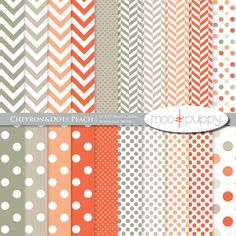 Chevron and Polka Dot Digital Paper - Instand download by Moo and Puppy