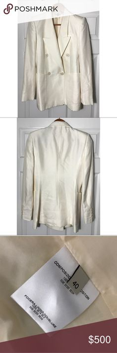 "Stella McCartney Silk Tuxedo Blazer Jacket Sz 40' GUC - winter white - cream - silk with silk lining - double breasted - measurements - pit to pit 17"", sleeves 24"" - length 28"" - authentic - size 40 Stella McCartney Jackets & Coats"