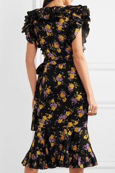 Dolce & Gabbana - Embellished Ruffled Printed Silk-blend Charmeuse Midi Dress - Black - IT40