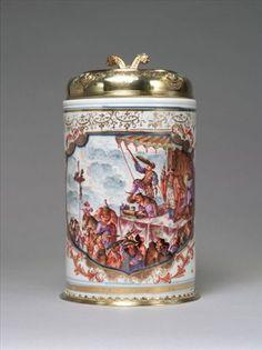 Meissen porcelain, c.1723–24. Decoration attributed to Johann Gregorius Höroldt, ( Horold ) c. 1723–24. Mounted in Augsburg, c. 1725