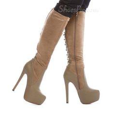 fancy+winter+boots+for+women   Winter Fancy Coppy Leather Stiletto Heel Knee High Boots