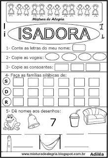 Brincando com os nomes -Isadora