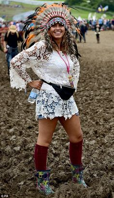 Martha Harrison, 28, from Wirral at the Glastonbury Festival, at Worthy Farm in Somerset
