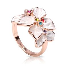 $6.99 Add a pretty touch with this charming White Enamel & Multi-color Swarovski Crystals Flower Ring. Featuring a flower ring design, crafted in rose gold tone metal and decorated with white colored enamel detailing. Each ring accented with five small multi-color crystals for a dash of sparkle. Fresh and summery, these pretty floral rings are a gorgeous way to refresh your style.