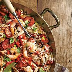 Jambalaya | Build deep flavors by sautéing the aromatic trinity of onion, celery, and pepper in the andouille drippings with herbs, garlic, and spices.