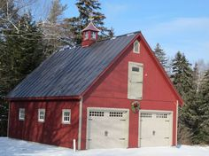 Love the barn garage and the addition ideas for my house for Red barn prefab