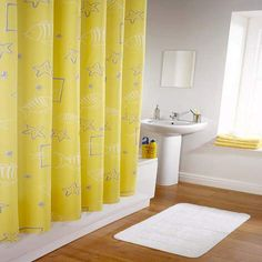 Brighten Up Your Bathroom With A Yellow Shower Curtain Yellow Shower Curtains, Long Shower Curtains, Shower Curtain Rods, Extra Long Shower Curtain, House Rooms, Kitchen Decor, Home Improvement, Home And Family, Home And Garden