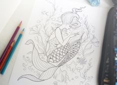 Great Print Your Own Coloring Book 64 Reading Mermaid Coloring
