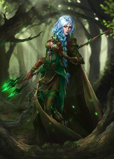 Elf druid by Tira-Owl female forest wild player character npc armor clothes clothing fashion player character npc | Create your own roleplaying game material w/ RPG Bard: www.rpgbard.com | Writing inspiration for Dungeons and Dragons DND D&D Pathfinder PFRPG Warhammer 40k Star Wars Shadowrun Call of Cthulhu Lord of the Rings LoTR + d20 fantasy science fiction scifi horror design | Not Trusty Sword art: click artwork for source