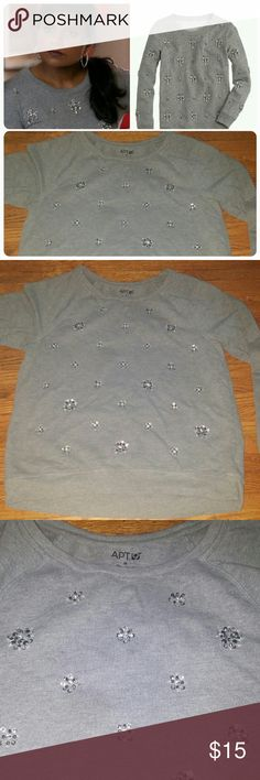 Apt. 9 jeweled sweatshirt. Apt. 9 jeweled shirt - knock off of J. Crew chandelier sweatshirt as seen on Mindy Project and tons of bloggers. In EUC and no missing or lose jewels. Apt. 9 Tops Sweatshirts & Hoodies