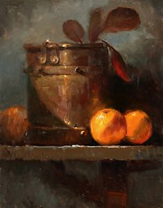 Oranges and Copper by Kathy Tate Oil ~ 14 x 11 Pictures To Paint, Art Pictures, Hyper Realistic Paintings, Fine Art Paintings, Still Life Oil Painting, Copper Art, Fruit Painting, Still Life Art, Fruit Art