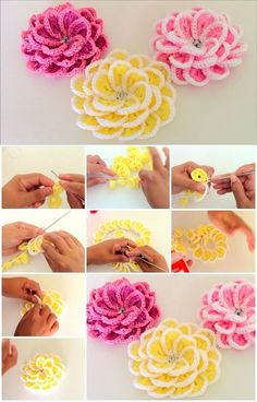 Here's the link to the tutorial >> How to Make Single Strip Crochet Flower << by tallermanualperu Yarn Flowers, Crochet Flowers, Irish Crochet, Diy Crochet, Crochet Accessories, Handmade Accessories, Crochet Projects, Diy Projects, Project Ideas
