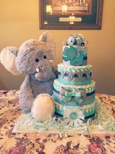Blue elephant baby boy diaper cake More