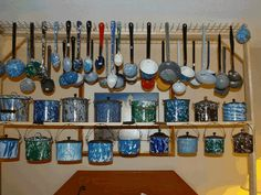 Nice Graniteware collection ! (would look great on barnwood,hanging ladder for laddles)