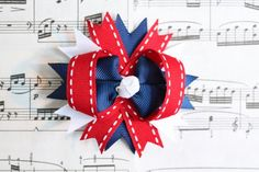4th of July Hair Bow Red white and blue bow 4th by LayersandFrills, $4.00