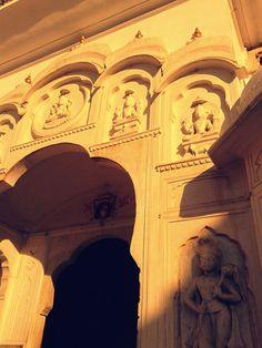 Carvings at the entrance of Hawa Mahal, Jaipur, Rajasthan, India