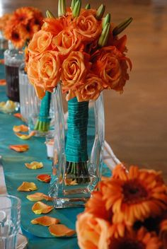 Orange and Turquoise Wedding Decorations - Bing images Wedding Reception Table Decorations, Fall Wedding Centerpieces, Wedding Table, Wedding Bouquets, Our Wedding, Wedding Flowers, Decor Wedding, Trendy Wedding, Bridesmaid Bouquets