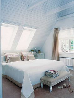 Small Bedroom Paint Color Ideas: Best Paint Colors For Small Spaces Attic Bedroom Small, Attic Rooms, Attic Spaces, Small Rooms, Small Spaces, Master Bedroom, Attic Bathroom, Blue Bedroom, Attic Apartment