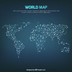 World map global network map design free vector icons pinterest world map pins lines gumiabroncs Gallery