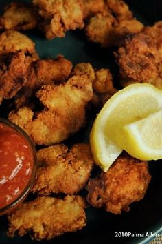 In the fall I always think of Fried Oysters and my recipe is the best. My Stud M… In the fall I always think of Fried Oysters and my recipe is the best. My Stud Muffin loves my Fried Oysters and he frequently requests them… Fish Dishes, Seafood Dishes, Fish And Seafood, Seafood Recipes, Appetizer Recipes, Cooking Recipes, Main Dishes, Seafood Party, Appetizer Party