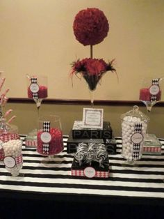 Paris themed black white and red party
