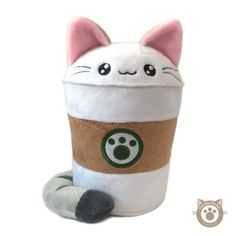 Purrista Pawfee: Medium Size Cute Coffee Kitty Cat Plush sold by Kimchi Kawaii. Shop more products from Kimchi Kawaii on Storenvy, the home of independent small businesses all over the world. Food Pillows, Cute Pillows, Diy Pillows, Softies, Plushies, Cat Crafts, Arts And Crafts, Cute Stuffed Animals, Cute Plush