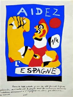 Spanish Republic help poster by Joan Miro. Joan Miro Paintings, Civil War Art, Propaganda Art, Venice Biennale, National Gallery Of Art, Art Gallery, Exhibition Poster, Etsy, Art Posters