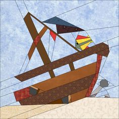 "Ship Wreck 10"" (25cm) Paper Pieced quiltartdesigns.blogspot.com"